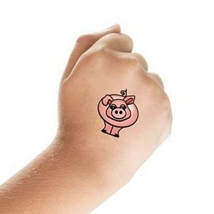 Pink Pig Temporary Tattoo